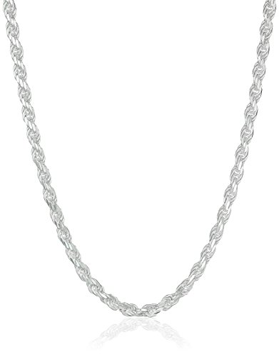 Amazon Essentials Sterling Silver Diamond Cut Rope Chain Necklace, 18
