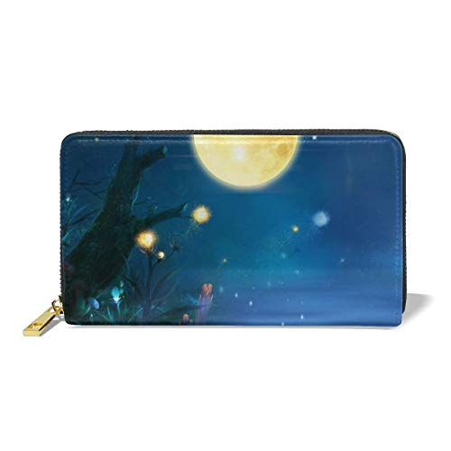 Aesthetic Dream On Midsummer Night Lake Water Forest Women's Zip Long Leather Wallet