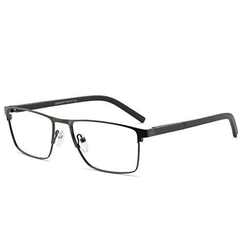 OCCI CHIARI Mens Rectangle Full-Rim Metal Black Non-prescription Clear Optical Glasses 54mm (A ()