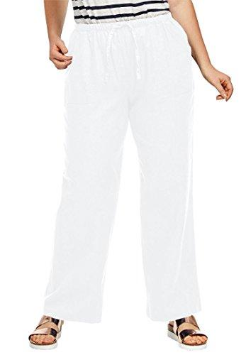 White Linen Blend Pant (Ellos Women's Plus Size Linen Blend Drawstring Pants White,14)