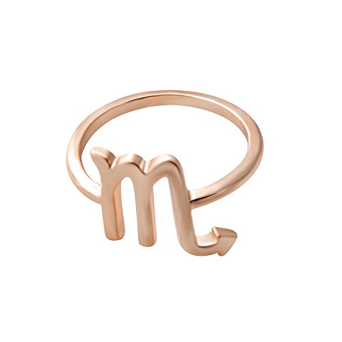 (SENFAI 12 Zodiac Sign Constellation Finger Ring Rose Gold Color Horoscope Astrology Disc Ring (Scorpio))