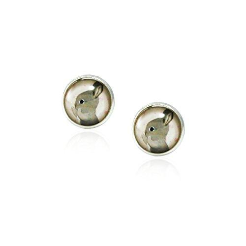 fidaShop Rabbit Vintage Antique Retro Style, Glass Round Stud Earrings for Women Girls Gift Idea (Silver) -