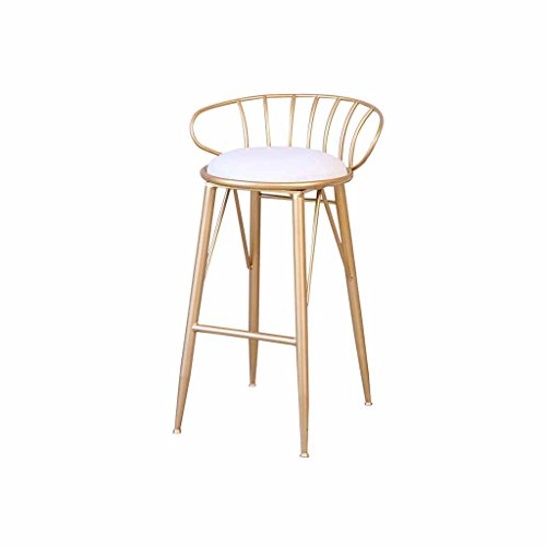 (Bar Stool Kitchen Breakfast Tall Chairs Metal Counter Stools Front Desk Stools Home Backrest Footrest Iron Pub Modern Northern Europe Load 120Kg (Color: Golden) (Sitting Height)