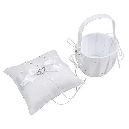 2 Heart Rhinestones White Satin Large Wedding Ring Bearer Pillow and Basket Set (Pillow Bag Money Wedding Ring)
