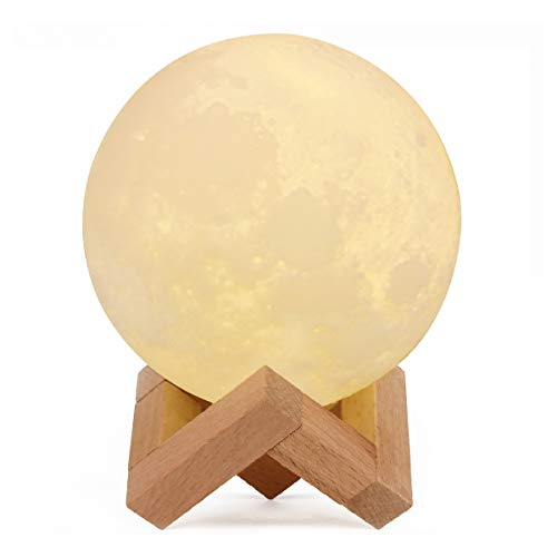 IDEAcone Moon Light Lamp, Luna Moon Lamp, Modern Home 3D Printing Lamp, Warm Yellow Night Light with Wooden Mount (Battery + Chargable) (Large) by IDEAcone