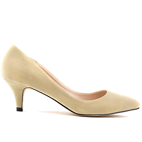 Zapatos Bombas Alto Puntiagudo Talón Sólido Xianshu Tacon de Mujer Boca Albaricoque Baja Color wUTWqwxH0A