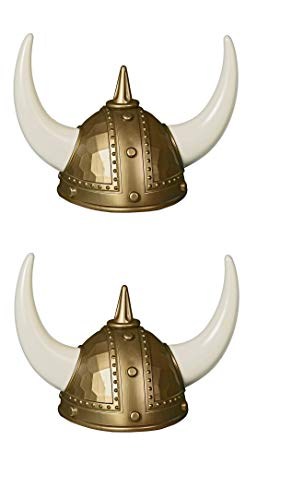 Ifavor123 Set of 2 Adult Viking Warrior Horns Helmets Halloween Costume Dress Up Football Fan Wearable Plastic Hat Helmets -