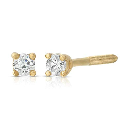 - 14k Round Diamond Stud Earrings with Screw Back Yellow-Gold
