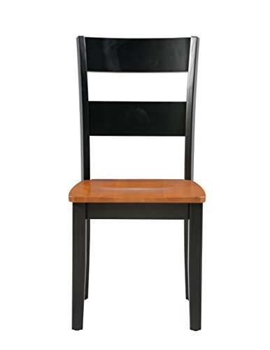 - Trithi Furniture Fullerton Solid Wood Black Kitchen & Dining Chair with Cherry Seat, Set of 2