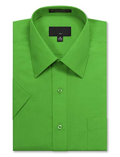 - JD Apparel Men's Regular Fit Short Sleeve Dress Shirts 15-15.5N Medium Green