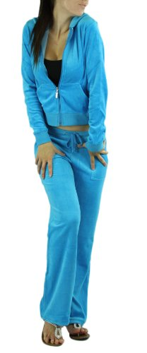 ToBeInStyle Women's Regular Drawstring Pants w/ Hoodie Sweatshirt New Velour Set,Large / Size: 6-8,Turquoise