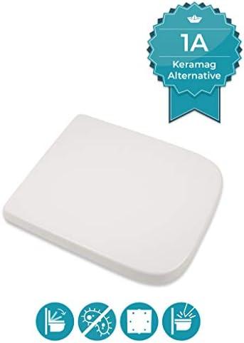 Calmwaters® Antibakterieller WC Sitz für Keramag Renova Nr. 1 Plan mit Absenkautomatik, passend zu 202150 & 202160, rostfreie Edelstahl-Top-Fix-Befestigung, eckige Form, Duroplast, Weiß - 26LP3461