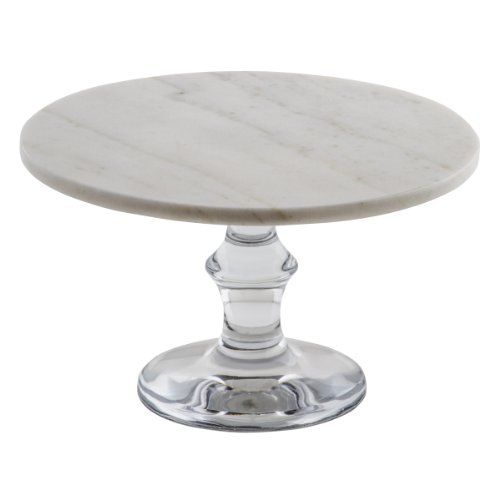 Thirstystone Marble Cake Stand with Glass Base, White