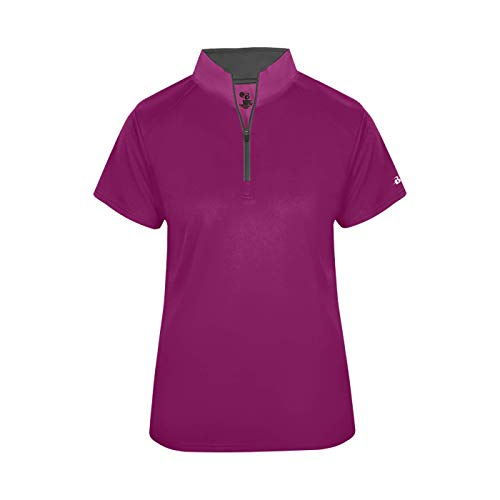 Women's Large Hot Pink/Graphite Sport 1/4 Zip Short Sleeve