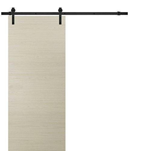 Sliding Barn Door 30 x 80 | Planum 0010 Milk Ash | 6.6FT Rail Hangers Stops Hardware Set | Modern Solid Panel Interior Door