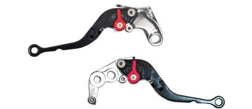 Yana Shiki LC001LCF-BLK/RC18LBF-BLK Black Short Folding Adjustable Brake/Clutch Lever Set with Chrome Knuckles for Suzuki GSX-R1000