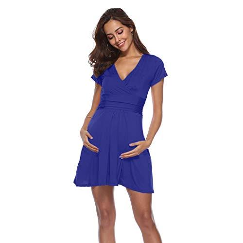 BBsmile Ropa Embarazadas Embarazo de Las Mujeres V Cuello Vestido Maternidad Verano Color sólido Vestido de Manga Corta: Amazon.es: Ropa y accesorios