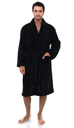 TowelSelections Men's Super Soft Plush Bathrobe Fleece Spa Robe Large/X-Large Anthracite (Professional Spa Will Cost)