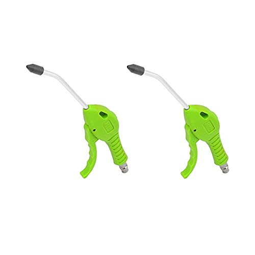 COMOK 2Pcs Air Compressor Tube Nozzle Blow Gun, Adjustable Air Flow Control with Extended Angled Nozzle and Rubber Tip Air Blow Gun Cleaning Tool, Green