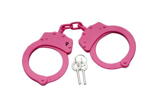 P-15920. Double Lock Stainless Steel Handcuffs - Hot Pink- Police Quality security steel weapon PanthTD