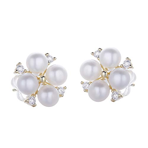 Rakumi Sterling Silver 3-4mm White Freshwater Pearl Studs Earrings Clover Earrings ()