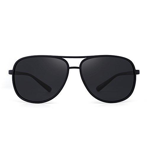 Retro Polarized Aviator Sunglasses Mirror Lightweight Eyeglasses for Men Women (Matte Black / Polarized Grey) (Matte Aviator)