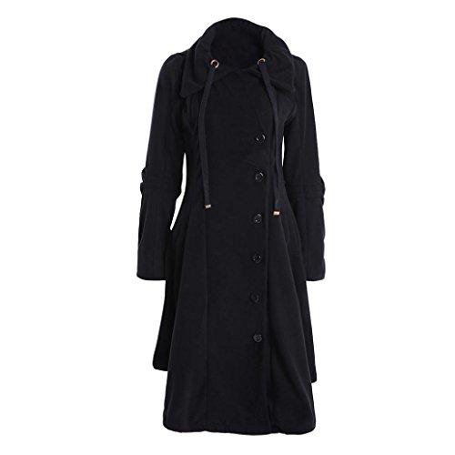 BotóN Abrigo Parka De Grueso Coat De SóLido Mujer De Negro Color De Abrigo Largo Chaqueta Invierno Aq8tf