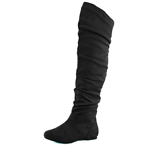 DailyShoes Women's Fashion-Hi Over-The-Knee Thigh High Flat Slouchly Shaft Low Heel Boots Black Suede, 5.5 B(M) US ()