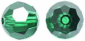 - Swarovski #5000 Faceted Round Beads, Transparent Finish, 8mm, Emerald, 6-Pack
