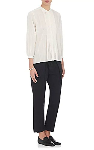Nili Lotan Estelle Cotton Voile Pleated Button Down Ivory Shirt Blouse Top - Large