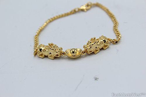 Gold Plated Metal Pair Dragon Pi Xiu Pi Yao Biting Gold Ingot Pendant Bracelet Lucky Feng Shui Protection ()