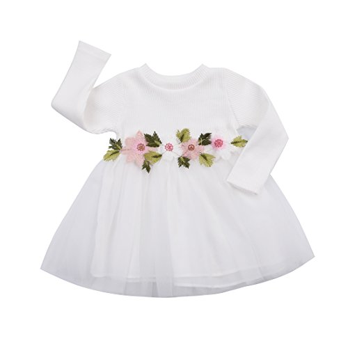 Toddler Kids Girls Fall Jersey Dress Long Sleeve Floral Tulle Cap Tutu Dresses Outfit (9-18months, White)
