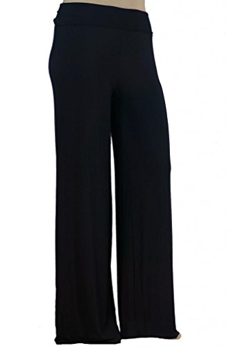Stylzoo Womens Plus Size Stretchy Comfy Palazzo Solid Color Pants Black 3X Supermodel Inseam