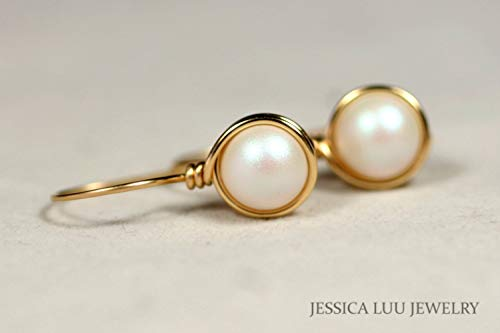 (Gold Pearl Earrings with Pearlescent White Swarovski Pearls Wire Wrapped Yellow or Rose Gold Filled)