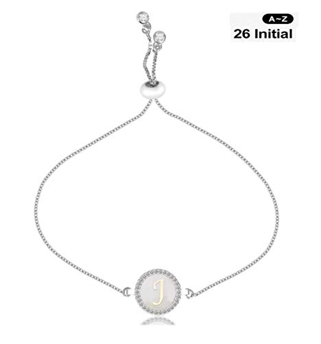 CILILI Design 26 Alphabet Charms Initial Shell Letters with White Rhinestones Snake Chain Bracelet for Women Girls Adjustable (Silver, J) from CILILI