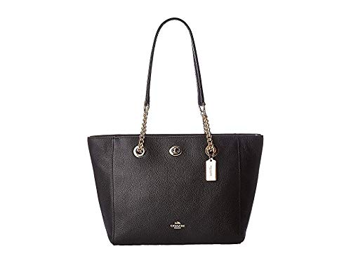 COACH Women's Pebbled Turnlock Chain Tote 27 Li/Black One Size