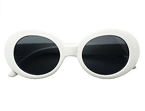 BOLD Retro Oval MOD Thick Frame Clout Goggles Round Lens Sunglasses (White, Smoke) ()
