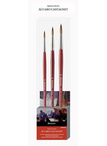 (Alvaro Castagnet Watercolor Set of 3 Fine Artist Paint Brushes )