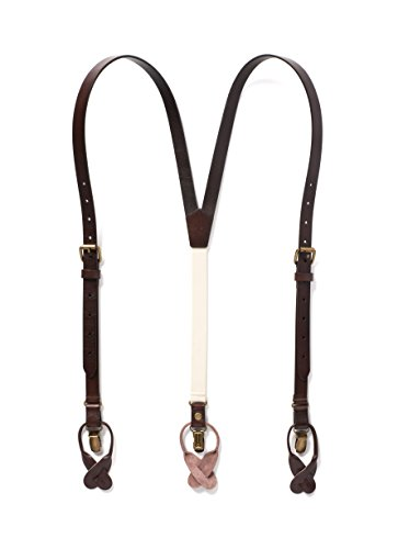 JJ SUSPENDERS Genuine Leather Suspenders For Men with Elastic Strap & Dual Clips (Coffee Brown) ()