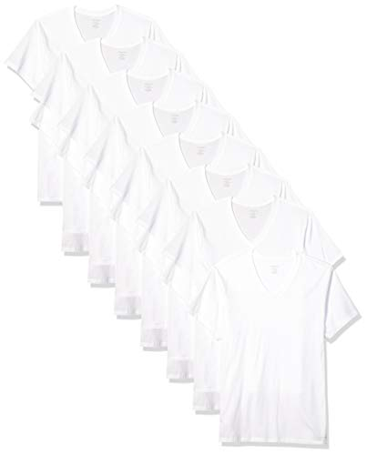 Calvin Klein Men's Cotton Classics Multipack V Neck T-Shirts, White, S (Best V Neck Undershirt)