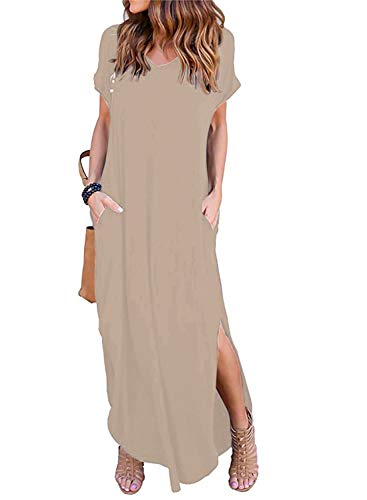 Women's Short Sleeve V Neck Pocket Casual Side Split Beach Long Maxi Dress (Coffee, X-Small)