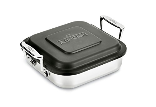 All-Clad E9019464 Gourmet Accessories Stainless Steel Square Baker w/lid cookware, 8-Inch, Silver by All-Clad