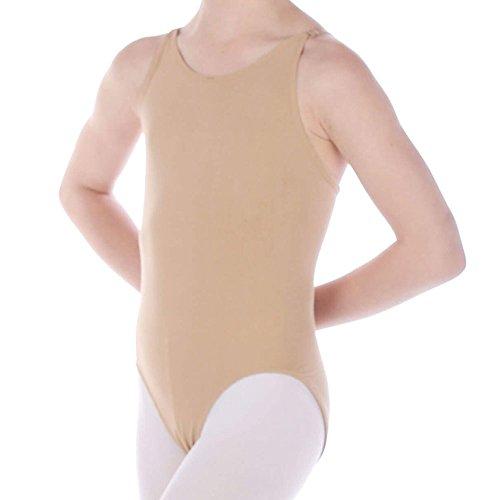 Danzcue Girls' Seamless Camisole Undergarment Leotard With Adjustable Straps, Nude, T/S
