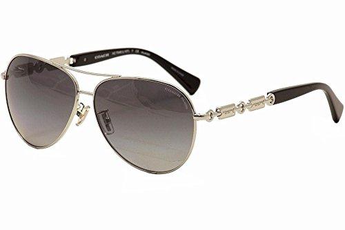 Coach Womens L107 Sunglasses (HC7048 59) Multicolor/Grey Metal - Polarized - - Polarized Aviator Coach Sunglasses
