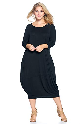 12 AMI Plus Size Solid 3/4 Sleeve Bubble Hem Pocket Midi Dress Black XXL