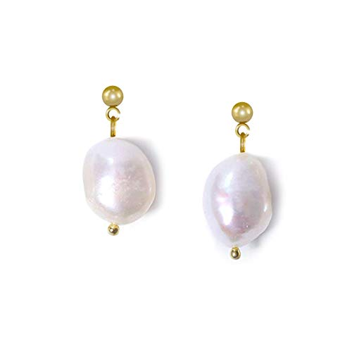 Genuine Baroque Pearl Earrings Real Cultured Freshwater Pearls Drop 925 Sterling Silver Pin Hypoallergenic Fashion Dangle Earings by Dokreil