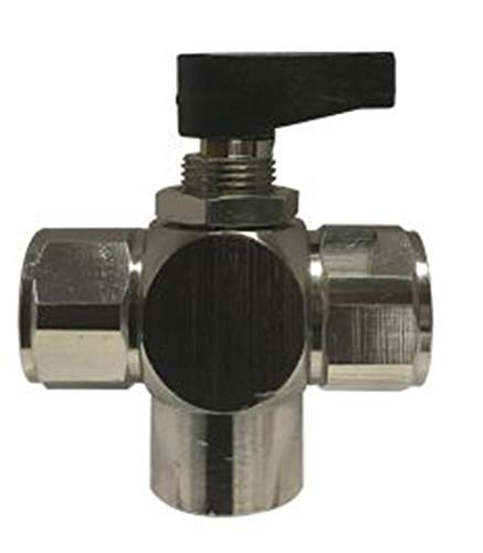 Midland 46681 Chrome Plated Brass Mini Ball Valve, 3-Way Fip, Closed Center, 1/4