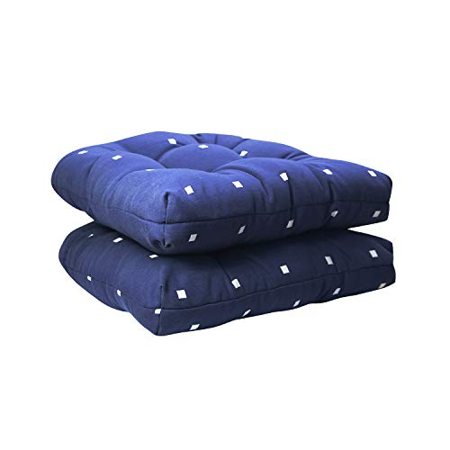 (Indoor Outdoor Cushions Decorative Chair Pads for Office/Patio Chair, Comfortable Navy Polka Dot Pattern Chair Pads with Ties 2 Pack 16× 17 Inch)