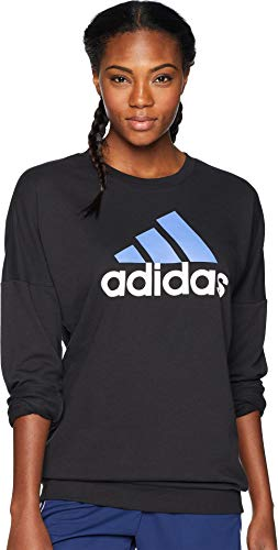 adidas Women's Badge of Sport Pullover Black/Real Lilac Large ()