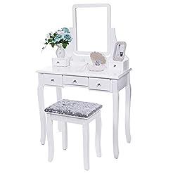 BEWISHOME Vanity Set with Mirror & Cushi...